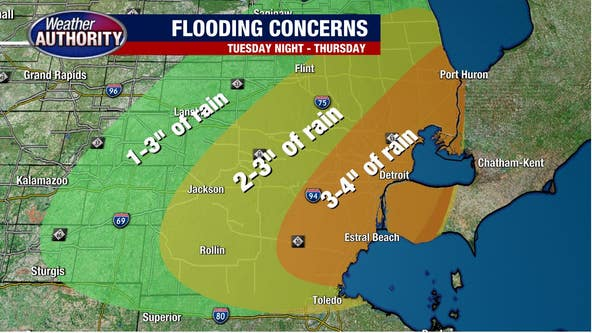 Southeast Michigan Weather: 2-4 inches of rain possible over next three days
