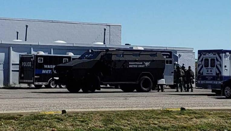 Viewer submitted photo of the barricaded situation in Ypsilanti.