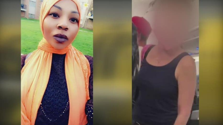 Victim Aicha Toure, left, the woman under investigation for the assault aboard the plane, right.