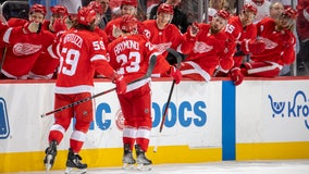 Raymond scores 1st NHL goal, Red Wings top Blue Jackets 4-1
