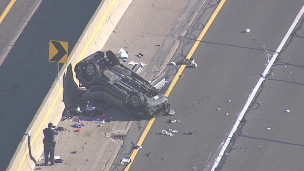 Eastbound I-94 closed at Gratiot due to rollover crash at Little Mack