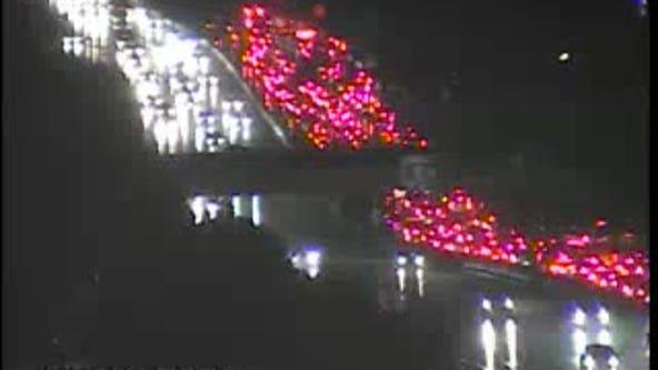Jackknifed semi-truck shuts down all SB lanes on Southfield Freeway