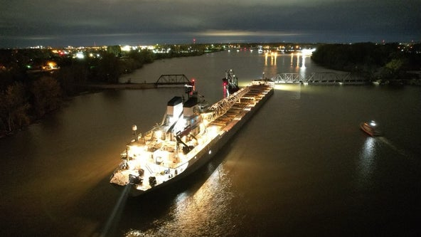 Cargo ship freed after running aground in Saginaw River when high winds blew it off course