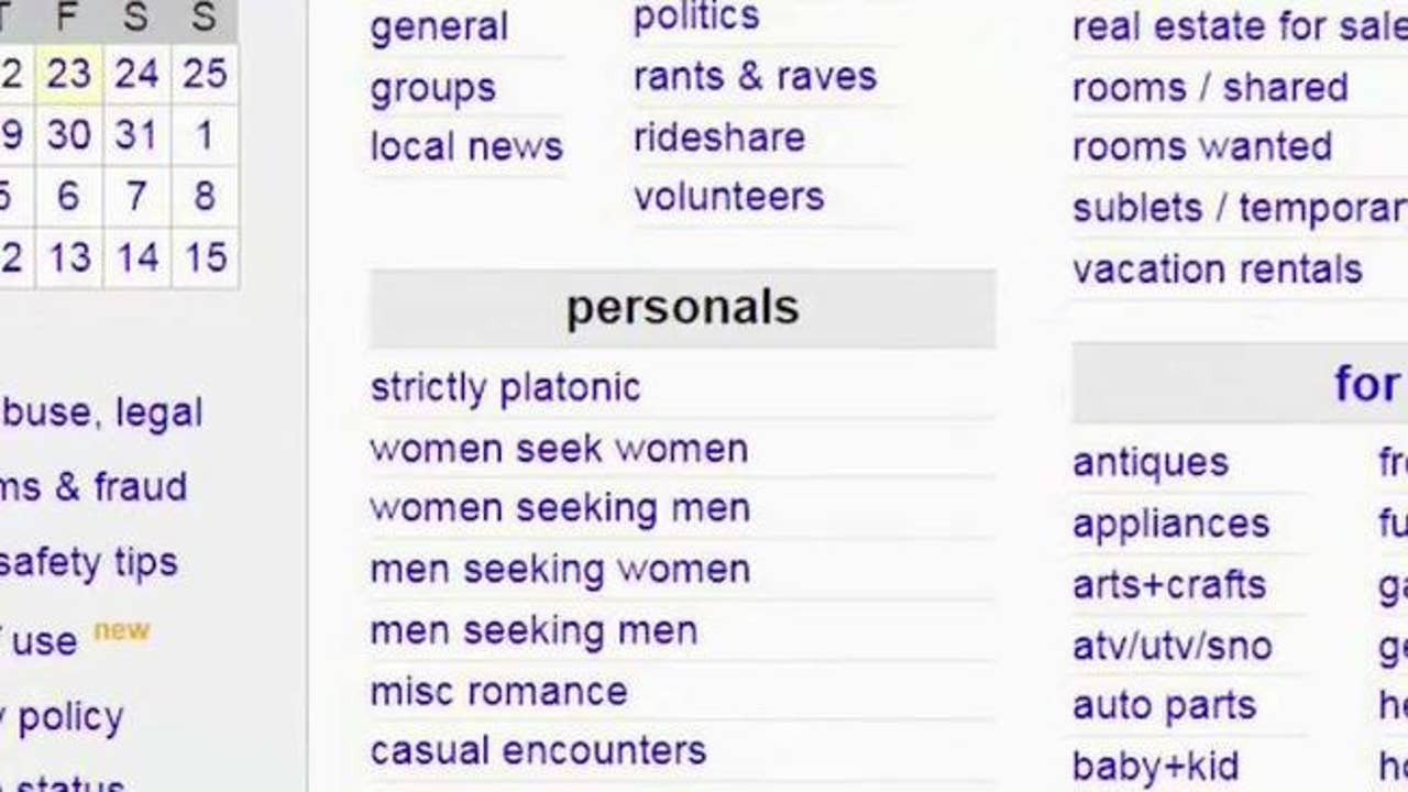 Craigslist pulls 'personals' section due to potential lawsuits