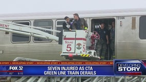 7 hurt after Green Line train derails on the South Side