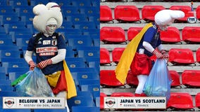 Japan fans again seen meticulously cleaning trash after Women's World Cup game