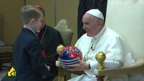 Little boy gives Pope Francis Chicago Fire soccer ball