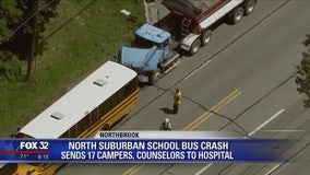 17 hurt when dump truck crashes into school buses in Libertyville