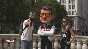 7-foot tall Mike Ditka bobblehead on display at Millennium Park