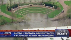 Naperville Riverwalk underwater as Chicago area hit with heavy flooding