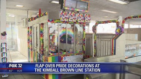 Flap over Pride decorations at CTA station in Chicago