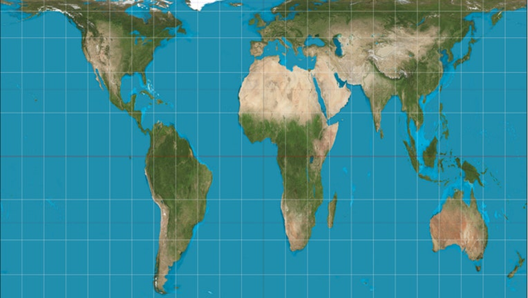 Gall-Peters projection map image courtesy of Wikipedia - By Strebe - Own work, CC BY-SA 3.0, commons.wikimedia.org