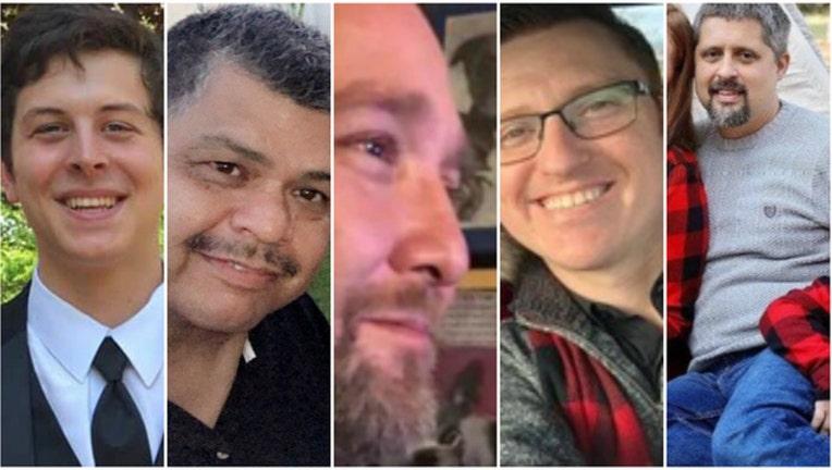Aurora victims Trevor Wehner, Vicente Juarez, Russell Beyer, Clayton Parks and Josh Pinkard
