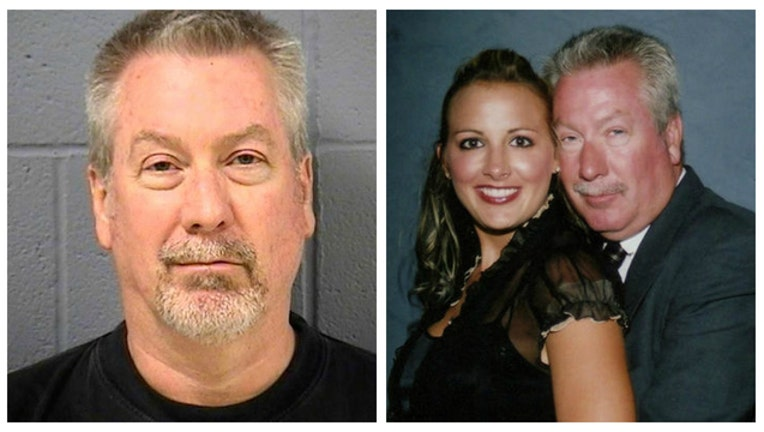 33b7b931-Drew Peterson mugshot and portrait of Drew and Stacy