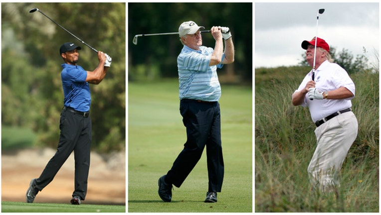 5b0f9dd6-GETTY IMAGES Tiger Woods, Jack Nicklaus and Donald Trump golfing