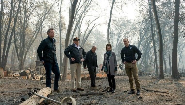 GETTY Gavin Newsom, Donald Trump, Jerry Brown, Paradise Mayor Jody Jones, FEMA Director Brock Jones