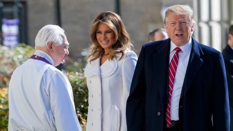 6f79287e-GETTY Melania and Donald Trump attend church