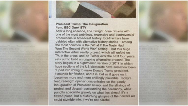 Listing for Trump inauguration ceremony in Scottish Sunday Herald
