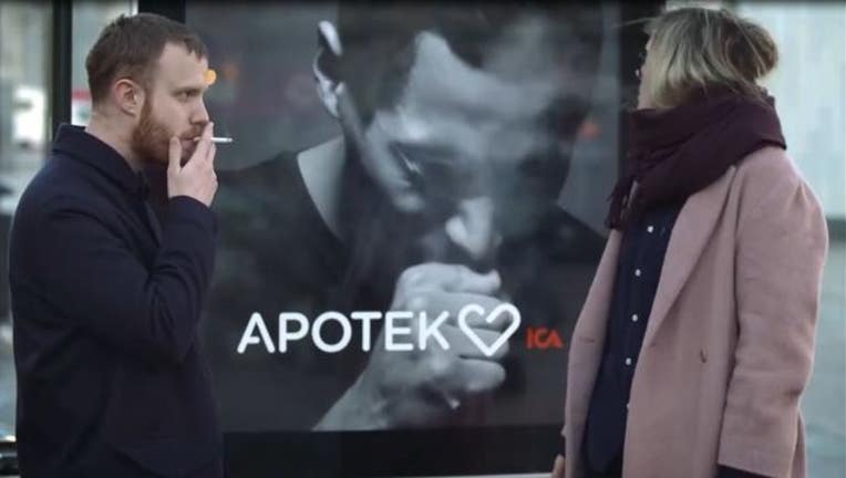 aa501f9c-This billboard has a smoke detector and the image starts coughing whenever a smoker is near (Courtesy Apotek Hjarat)