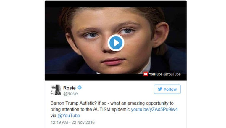 Rosie O'Donnell Tweets About Barron Trump-402970