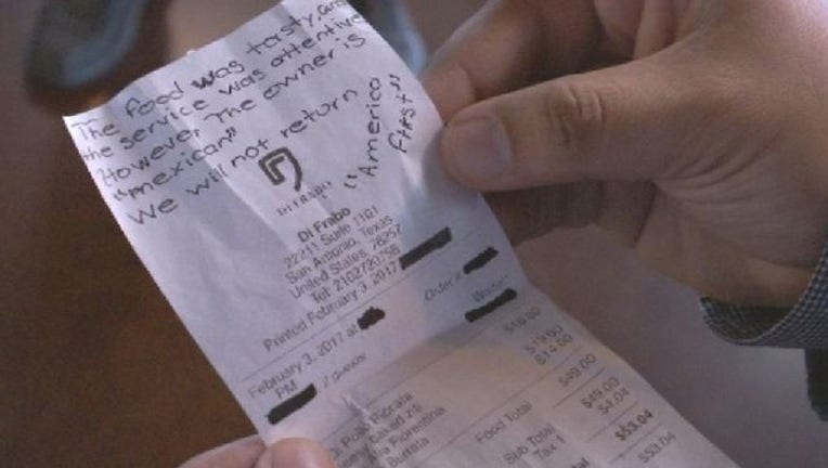 Message left on receipt for owner says You're Mexican so we won't be back. America First