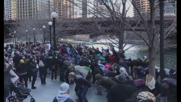 Hundreds of people dropped their pants and mooned the Trump Tower in Chicago Sunday (Photo Fresco News Katy Schlake)