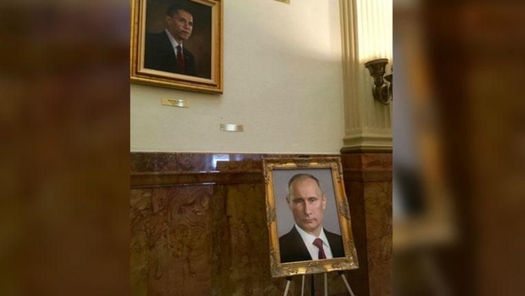 Prankter puts Putin's portrait in spot meant for Trump