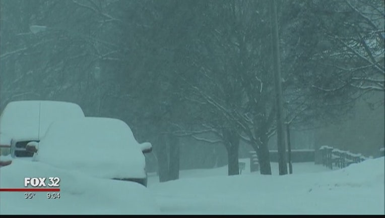 Cold weather and snow hit the Chicago area