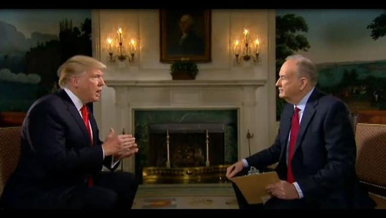 President Donald Trump talks with Fox News' Bill O'Reilly
