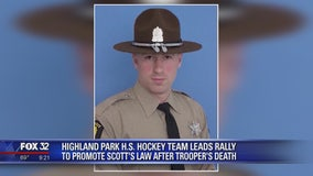 Suburban high school hockey team leads rally to promote Scott's Law after trooper's death