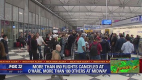 Strong storms prompt cancelation of more than 800 flights at O'Hare, Midway