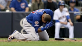 Addison Russell hit by pitch, leaves game