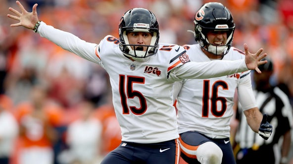 Bears kicker Eddy Pineiro questionable with knee injury.
