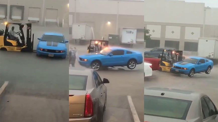 Quick-thinking coworker saves man's car from Imelda flood with forklift