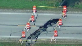 Sinkhole swallows part of road in New Lenox