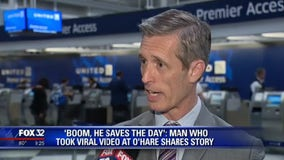 'Boom, he saves the day': Man who took viral video at O'Hare shares story