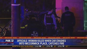 Person killed when vehicle crashes into McCormick Place, catches fire: officials