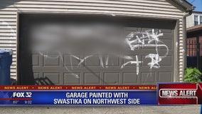 Garage painted with swastika on Northwest Side