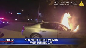 VIDEO: Zion police rescue woman from burning car