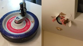 Helicopter wheel crashes through roof of suburban home, gets lodged in ceiling