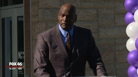 Michael Jordan, emotional, while opening medical clinic for low-income families