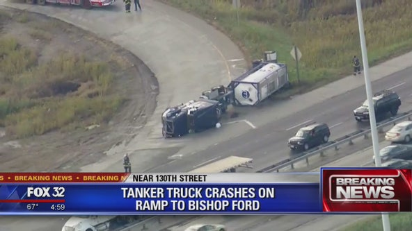 SB Bishop Ford Freeway closed due to overturned tanker on Far South Side