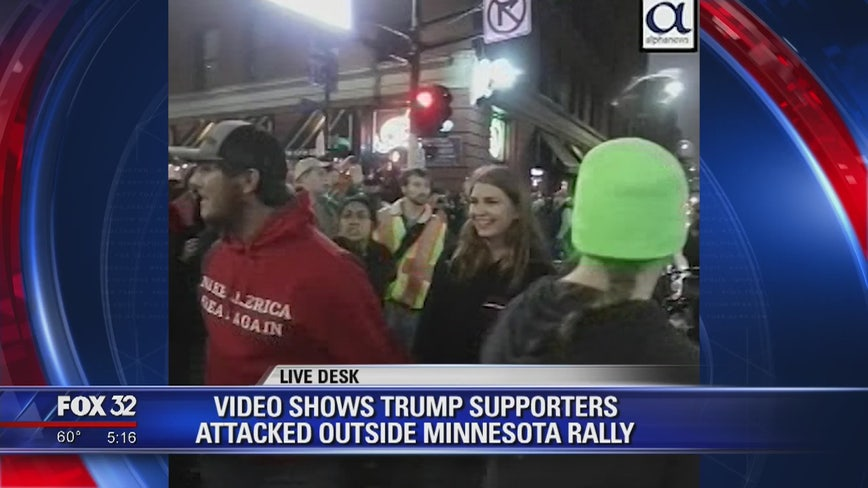 Video shows Trump supporters being attacked outside Minnesota rally