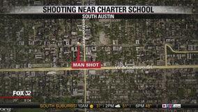 Man hit by gunfire takes shelter in West Side grade school