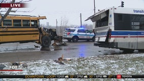 7 hurt when school bus slips on ice, crashes into CTA bus on Far South Side