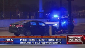 2 arrested after fleeing traffic stop, crashing into fire hydrant in Back of the Yards