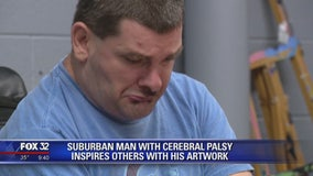 Suburban man with cerebral palsy inspires others with his artwork