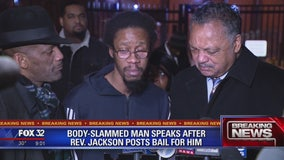 Man who was body slammed by Chicago cop bailed out of jail by Rev. Jackson