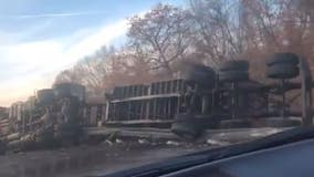 Semi rollover blocks I-80 lanes near New Lenox, prompts hazmat response
