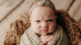Mean mugging: Baby appears extremely unamused in adorable newborn photo shoot
